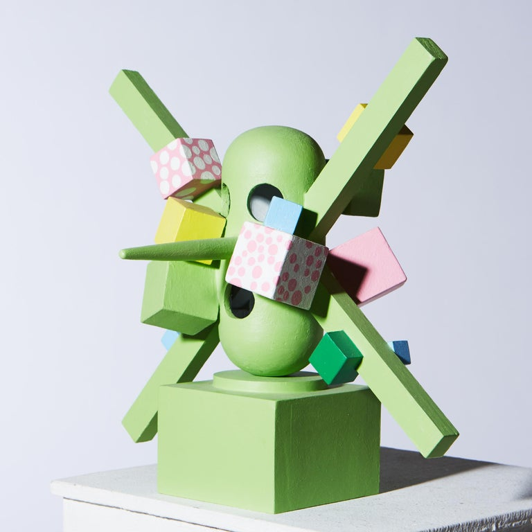 «The best in a shoddy situation» figurative sculpture in painted wood - Sculpture by Tony Emilson