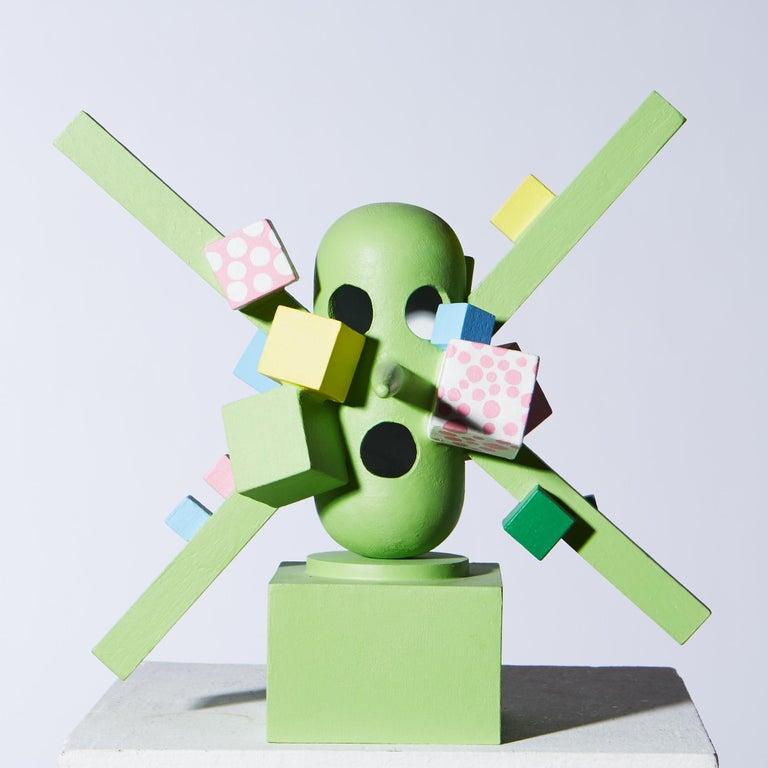 Tony Emilson Figurative Sculpture - «The best in a shoddy situation» figurative sculpture in painted wood