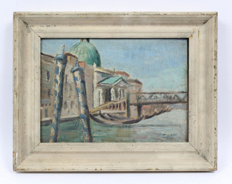 Antique American Impressionist Venice Italy Original CItyscape  Oil Painting - Gray Landscape Painting by Anthony (Tony) J. Sisti