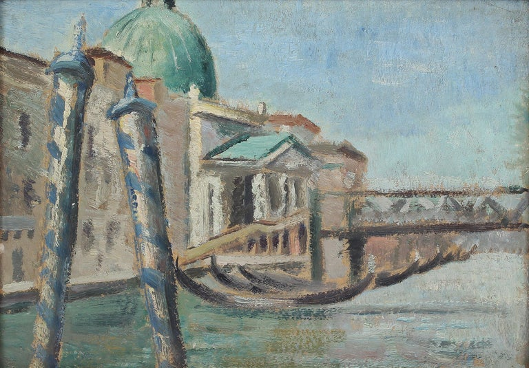 Antique American impressionist oil painting of Venice by Anthony J. (Tony) Sisti (1901 - 1983).  Oil on board, circa 1930. Unsigned.  Displayed in a period frame.  Image, 12