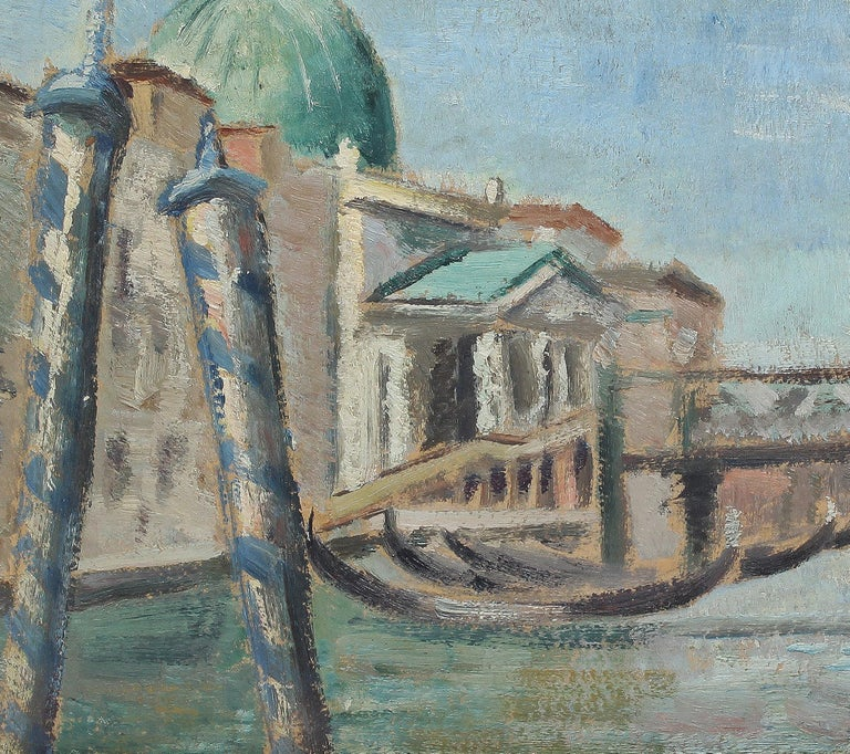 Antique American Impressionist Venice Italy Original CItyscape  Oil Painting For Sale 1