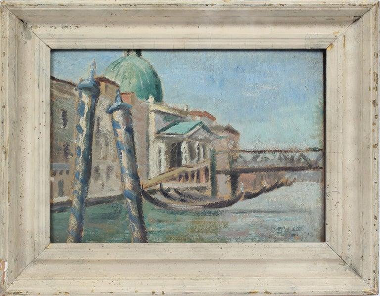 Anthony (Tony) J. Sisti Landscape Painting - Antique American Impressionist Venice Italy Original CItyscape  Oil Painting