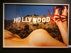 Hollywood Hills - nude portrait of a model, the Hollywood sign in the background