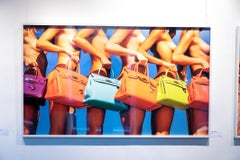Ladies who lunch - colourfol nude portrait of models with Hermés Birkin bags.