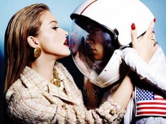 Need some space - a model kissing an astronaut