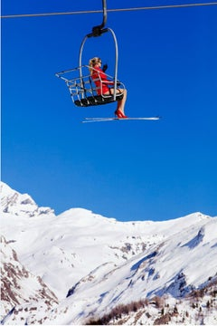 Ski Patrol Chairlift - landscape portrait of a model in alpine mountains