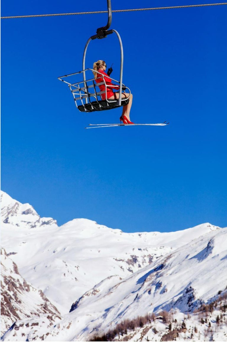 Ski Patrol Chairlift - landscape portrait of a model in alpine mountains The artwork is signed and made by the artist in a strictly limited edition of 25. High-end frame and bigger size on request.  A rush of colours, sunlit places, luminous