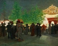 Fete Foraine - 20th Century Oil, Figures at Fairground Landscape by Tony Minartz