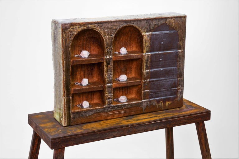 Large ceramic wood-fired sculpture: 'Collector's Cabinet ' - Sculpture by Tony Moore