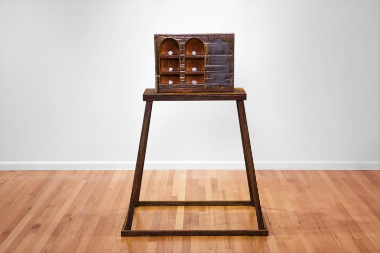 Large ceramic wood-fired sculpture: 'Collector's Cabinet ' - Contemporary Sculpture by Tony Moore