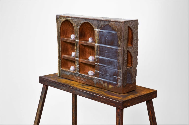 Large ceramic wood-fired sculpture: 'Collector's Cabinet ' For Sale 1