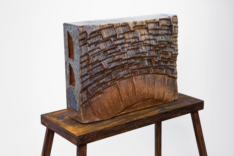 Large ceramic wood-fired sculpture: 'Collector's Cabinet ' For Sale 3