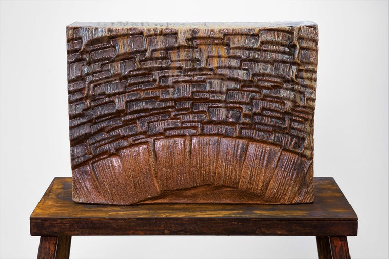 Large ceramic wood-fired sculpture: 'Collector's Cabinet ' For Sale 4