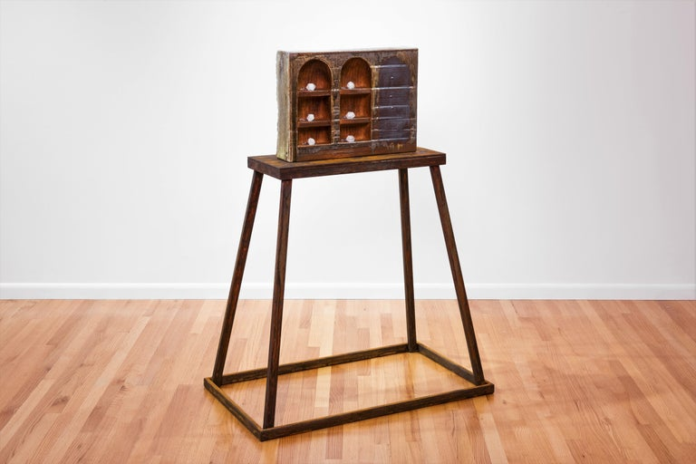 Tony Moore Still-Life Sculpture - Large ceramic wood-fired sculpture: 'Collector's Cabinet '