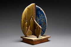 Wood-fired ceramic abstract sculpture: 'Four'