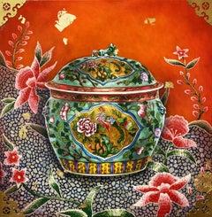 """""""Brilliant #2"""", Peranakan Baba Nyonya Straits Chinese Kamcheng Porcelain, Green"""