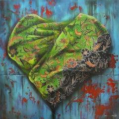 """""""Exploration of Love #2"""", Batik sarong in folding heart-shaped, Nyonya Baba"""