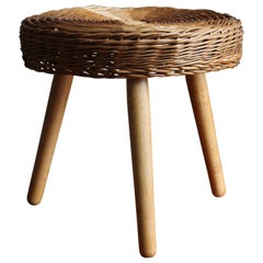 Tony Paul 'Attribution' Large Stool, Woven Rattan, Wood, America, 1950s