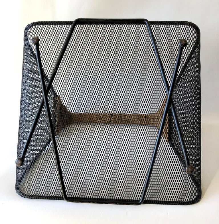 American Tony Paul for Woodlin-Hall Iron Rush Wrapped Handle Log Holder or Magazine Rack For Sale