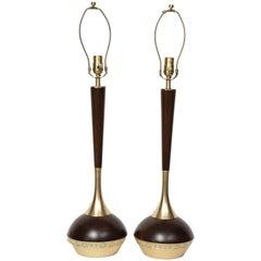 Tony Paul Midcentury Walnut and Brass Lamps