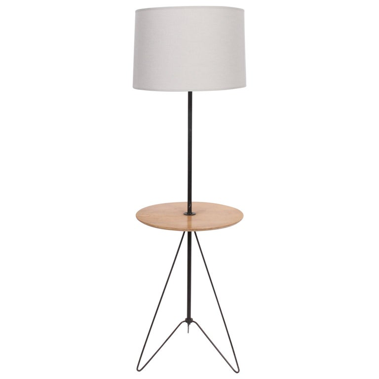 Tony Paul Style Maple And Black Wire Hairpin Side Table Floor Lamp