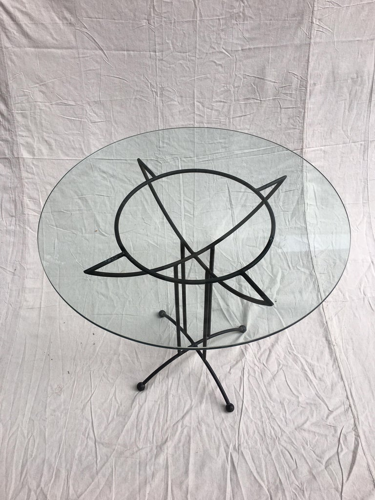 Late 20th Century Tony Paul Style Glass and Iron Table For Sale