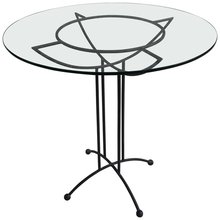 Tony Paul Style Glass and Iron Table For Sale
