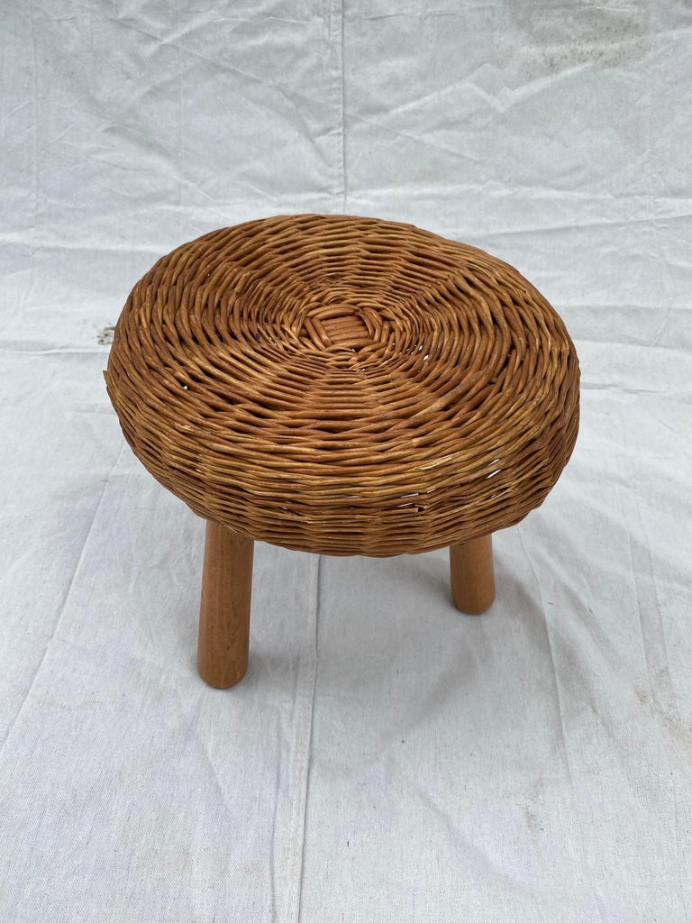 Tony Paul round wicker stool.