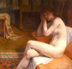 Model in Workshop - French Academic Oil, Nude in Interior by Tony Robert-Fleury