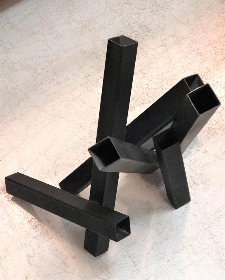 Enameled Tony Rosenthal Abstract Steel and Black Enamel Sculpture For Sale