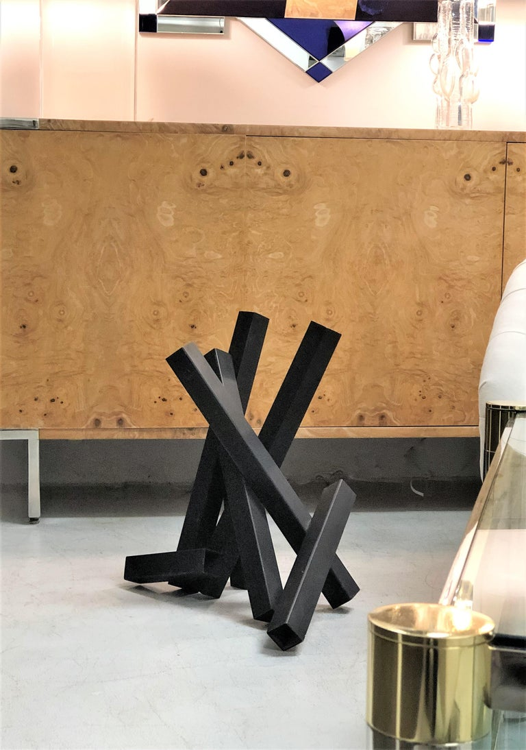 Tony Rosenthal Abstract Steel and Black Enamel Sculpture In Good Condition For Sale In Miami, FL