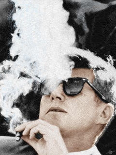 John F Kennedy Cigar and Sunglasses Cool LFK, Painting, Acrylic on Canvas