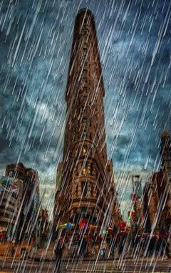 New York City Skyline Rain Storm Flat Iron Buildin, Painting, Acrylic on Canvas