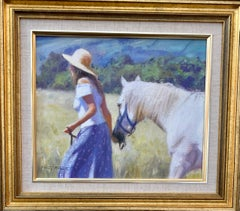 Girl with her horse in an Impressionist landscape in an English Summer