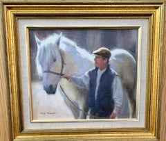 Man with his horse in an Impressionist landscape in an English Summer