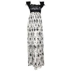 Tony Ward Black & Cream Empire Waist Long Evening Gown