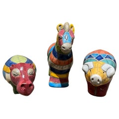 Too Cute Colorful Ceramic Pottery Animals Rainbow Hippo Pig and Horse, 1970s