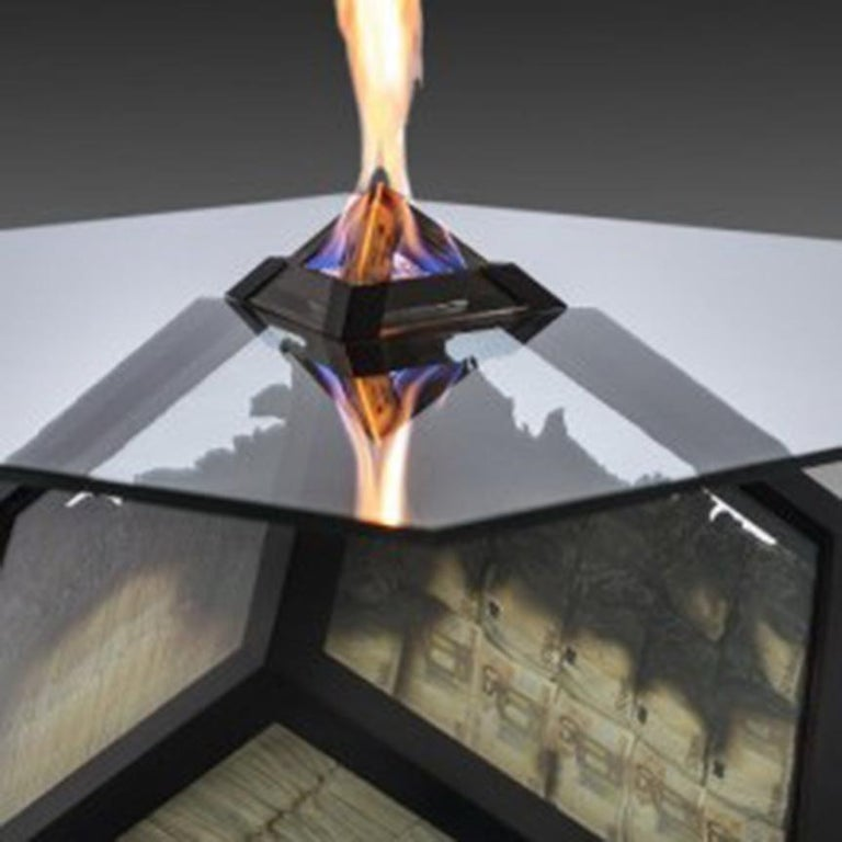 Too Much? I Unique Designer Money Burning Center Table, Dining Table with Fire For Sale 2