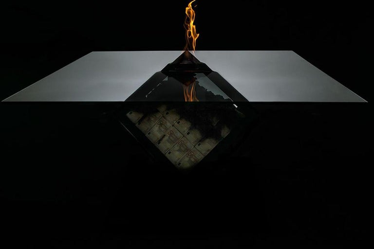 International Style Too Much? I Unique Designer Money Burning Center Table, Dining Table with Fire For Sale