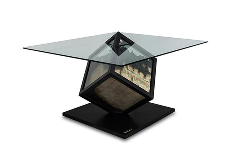 Glass Too Much? I Unique Designer Money Burning Center Table, Dining Table with Fire For Sale