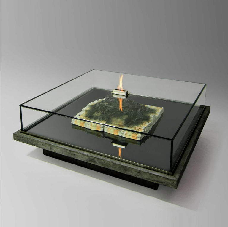 Too Much? II Unique Designer Money Burning Centre Table, Art Table For Sale 5
