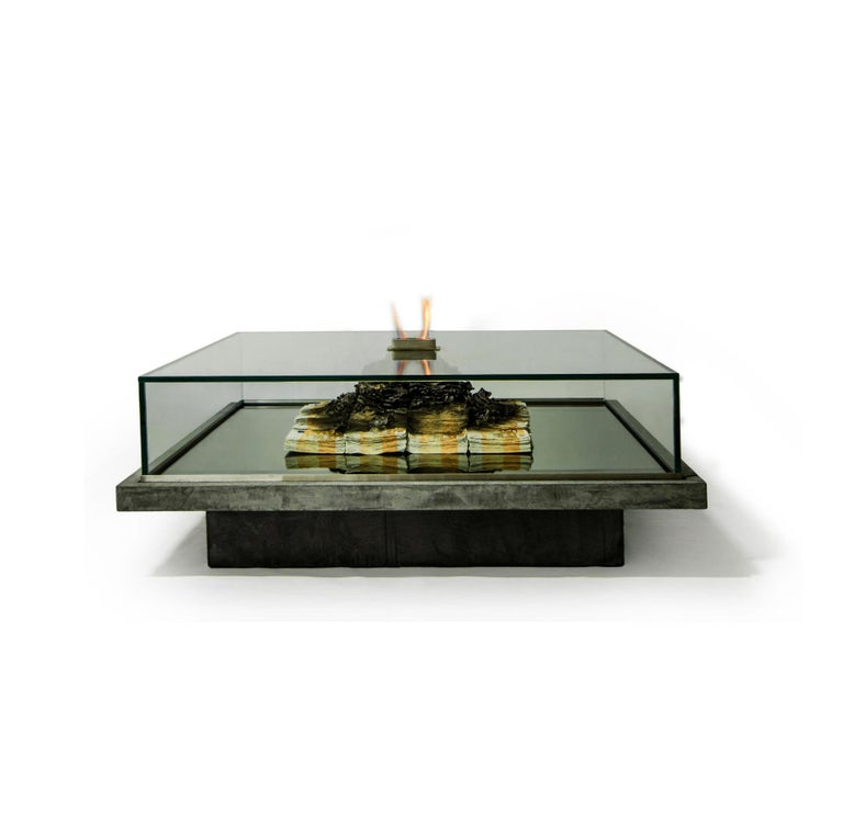 Glass Too Much? II Unique Designer Money Burning Centre Table, Art Table For Sale