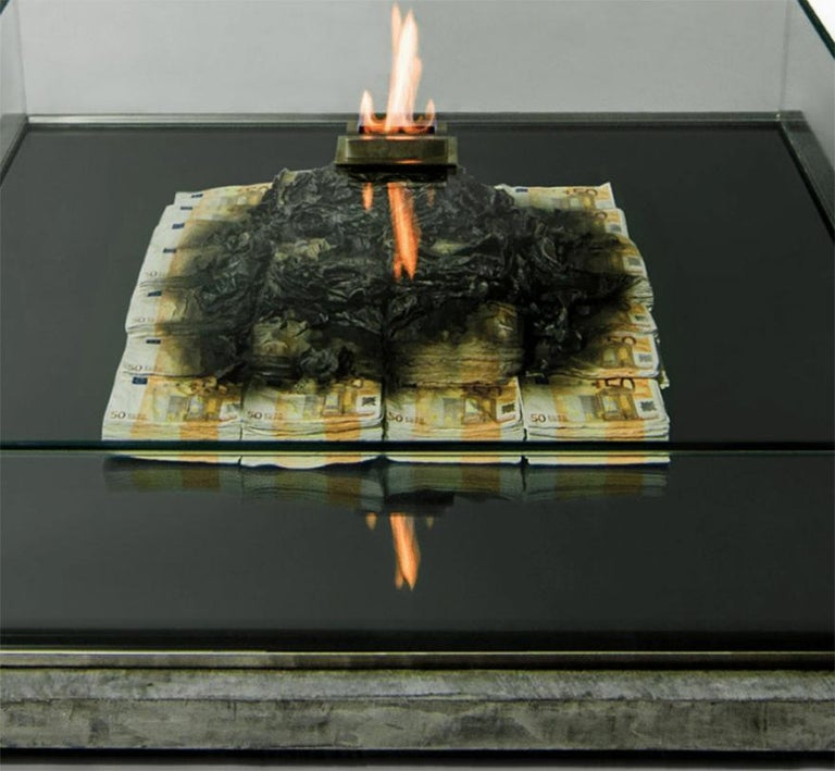 Too Much? II Unique Designer Money Burning Centre Table, Art Table For Sale 1