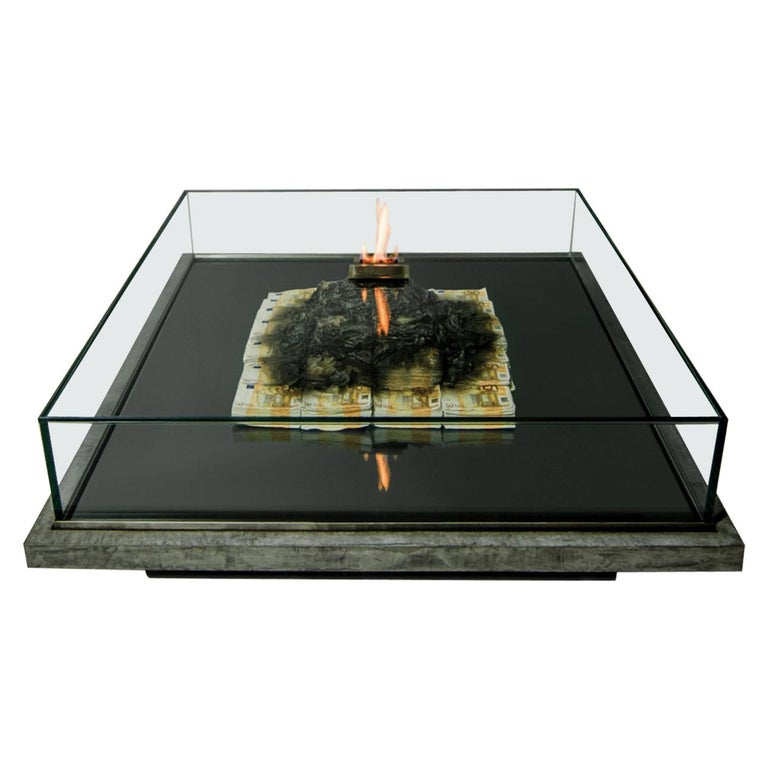 Too Much? II Unique Designer Money Burning Centre Table, Art Table For Sale