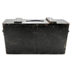 Tool Box Wooden with Leather Details Primitive