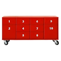 Red Toolbox with Drawers, Designed by Pietro Arosio, Made in Italy
