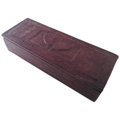 Tooled Brown Leather African Tuareg Box