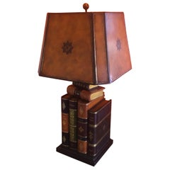 Tooled Leather Faux Books Table Lamp by Maitland Smith