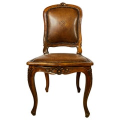 Tooled Leather Louis XV Style Side Chair, Desk Chair