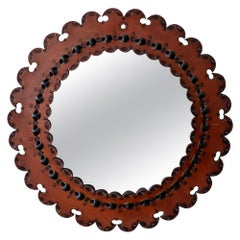 Tooled Leather Mirror, 1960s